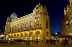 Municipal House facade at night, Prague, Czech Republic. Stock Image