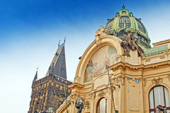 Municipal House and Powder Gate in Prague Stock Images