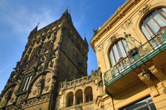 Municipal House and Powder Tower, Historic and new buildngs, Prague, Czech Republic Royalty Free Stock Photos