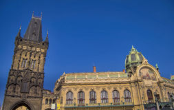 Municipal house and Powder tower in Prague Stock Photo