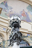 Municipal House, sculpture, mosaic, Prague, Czech Republic. Royalty Free Stock Photo