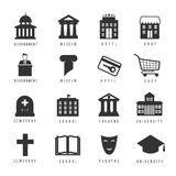 Municipal houses and icons. Town government signs Stock Photos