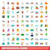 100 municipal icons set, cartoon style. 100 municipal icons set in cartoon style for any design vector illustration stock illustration