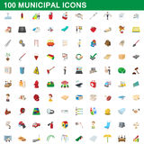100 municipal icons set, cartoon style. 100 municipal icons set in cartoon style for any design vector illustration Royalty Free Stock Photos