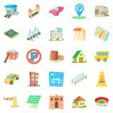 Municipal icons set, cartoon style. Municipal icons set. Cartoon set of 25 municipal vector icons for web isolated on white background Stock Photo