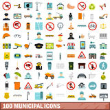 100 municipal icons set, flat style. 100 municipal icons set in flat style for any design vector illustration Stock Photography