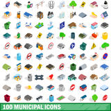 100 municipal icons set, isometric 3d style. 100 municipal icons set in isometric 3d style for any design vector illustration Royalty Free Stock Photo