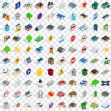 100 municipal icons set, isometric 3d style Stock Photography