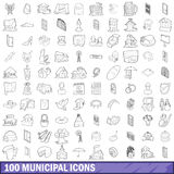 100 municipal icons set, outline style Stock Images