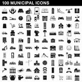 100 municipal icons set, simple style. 100 municipal icons set in simple style for any design vector illustration Royalty Free Stock Images