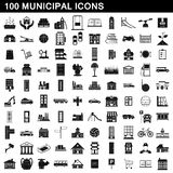 100 municipal icons set, simple style. 100 municipal icons set in simple style for any design illustration stock illustration