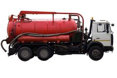 Municipal machine on white background isolated. Municipal industrial machine for pumping liquids and their subsequent transportation stock image
