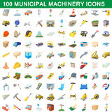 100 municipal machinery icons set, cartoon style Royalty Free Stock Images