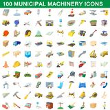 100 municipal machinery icons set, cartoon style. 100 municipal machinery icons set in cartoon style for any design illustration stock illustration
