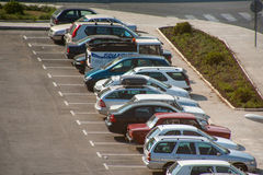 Municipal parking in the Bulgarian town of Pomorie Royalty Free Stock Image