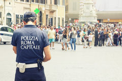 Municipal police in Rome, Italy. Tourists in Spanish Steps. Royalty Free Stock Image