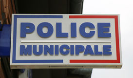 Municipal police sign in Lyon, France Stock Photography