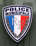 Municipal police sign in Lyon, France Royalty Free Stock Photography