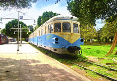 Municipal railway park of Kalamata Messinia Greece. Open air museum with old withdrawn trains Stock Photos
