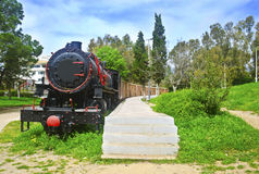 Municipal railway park of Kalamata Messinia Greece. Open air museum with old withdrawn trains Stock Images