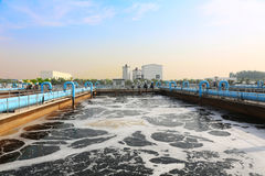 Municipal sewage treatment plant Royalty Free Stock Photos