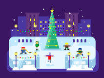 Municipal skating rink Christmas tree Royalty Free Stock Image