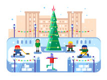 Municipal skating rink Christmas tree Stock Image