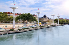 Municipal swimming pools of Lyon on the rhone river france Stock Image