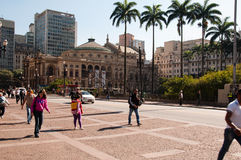 Municipal theater of Sao Paulo Stock Photos