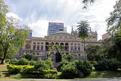 Municipal Theatre of Sao Paulo seen from the Ramos de Azevedo Sq Stock Photography