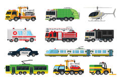 Municipal Transport Set. With evacuator garbage police towing fire trucks ambulance car tram trolleybus sweeper helicopter isolated vector illustration Royalty Free Stock Images