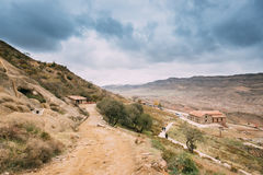 A municipalidade de Sagarejo, região de Kakheti, Geórgia David Gareja Monastery Complex antigo fotografia de stock royalty free