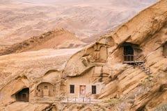 A municipalidade de Sagarejo, região de Kakheti, Geórgia David Gareja Monastery Complex ortodoxo Georgian Rocha-desbastado antigo foto de stock