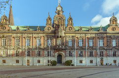 Municipality building in Malmo, Sweden. Old municipality building made of red brick in the center of Malmo, Sweden.  After Stockholm and Gothenburg, Malmo is the Royalty Free Stock Images