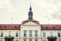 The municipality house of Brno city, Czech, yellow filter. The municipality house of Brno city, southern Moravia, Czech republic. Architectural scene. Yellow Royalty Free Stock Image