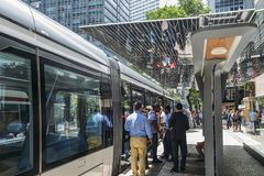 Municipality of Rio de Janeiro introduced VLTs vehicle light rail in 2016, which runs in the downtown district. Rio de Janeiro, Brazil - Jan 11, 2018 Royalty Free Stock Photos