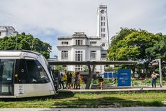 Municipality of Rio de Janeiro introduced VLTs vehicle light rail in 2016, which runs in the downtown district. Rio de Janeiro, Brazil - Jan 11, 2018 stock image