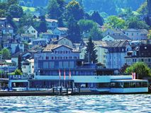 Municipality Rorschach on the south side of Lake Constance Bodensee. Canton of St. Gallen, Switzerland stock photos