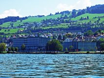 Municipality Rorschach on the south side of Lake Constance Bodensee. Canton of St. Gallen, Switzerland stock images