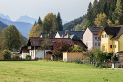 Municipality of Sankt Gallen surrounded by the Alps mountains on a sunny autumn day. Styria, Austria, Europe. Municipality of Sankt Gallen surrounded by the stock photos