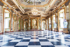 The Hall of Ambassadors in Queluz National Palace. Municipality of Sintra, Lisbon district, Portugal. Sometimes called the throne room or the Hall of Mirrors Stock Images
