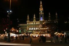 Municipio di Vienna nella notte, tempo di natale Immagini Stock Libere da Diritti
