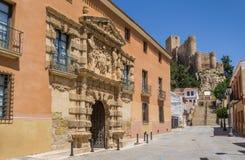 Municipio e castello di Almansa Fotografia Stock