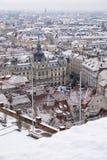 Municipio e quadrato principale Graz con neve nell'inverno Fotografia Stock