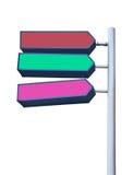 Munisca di segnaletica con le frecce rosse, verdi e rosa Immagini Stock