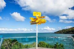 Munisca di segnaletica in Stirling Point - distanze del mondo misurate dalla t Fotografia Stock