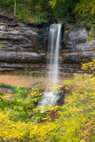Munising Falls and Autumn Leaves Royalty Free Stock Images