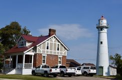 Munising Range Lighthouse. This is a Fall picture of the Munising Front Light Range And Keeper's Dwelling  on Lake Superior located in Munising, Michigan in Royalty Free Stock Photos