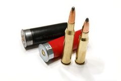 Munitions. Various munitions isolated on white background Stock Photos