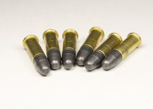 Munitions Rimfire de long fusil Photographie stock libre de droits